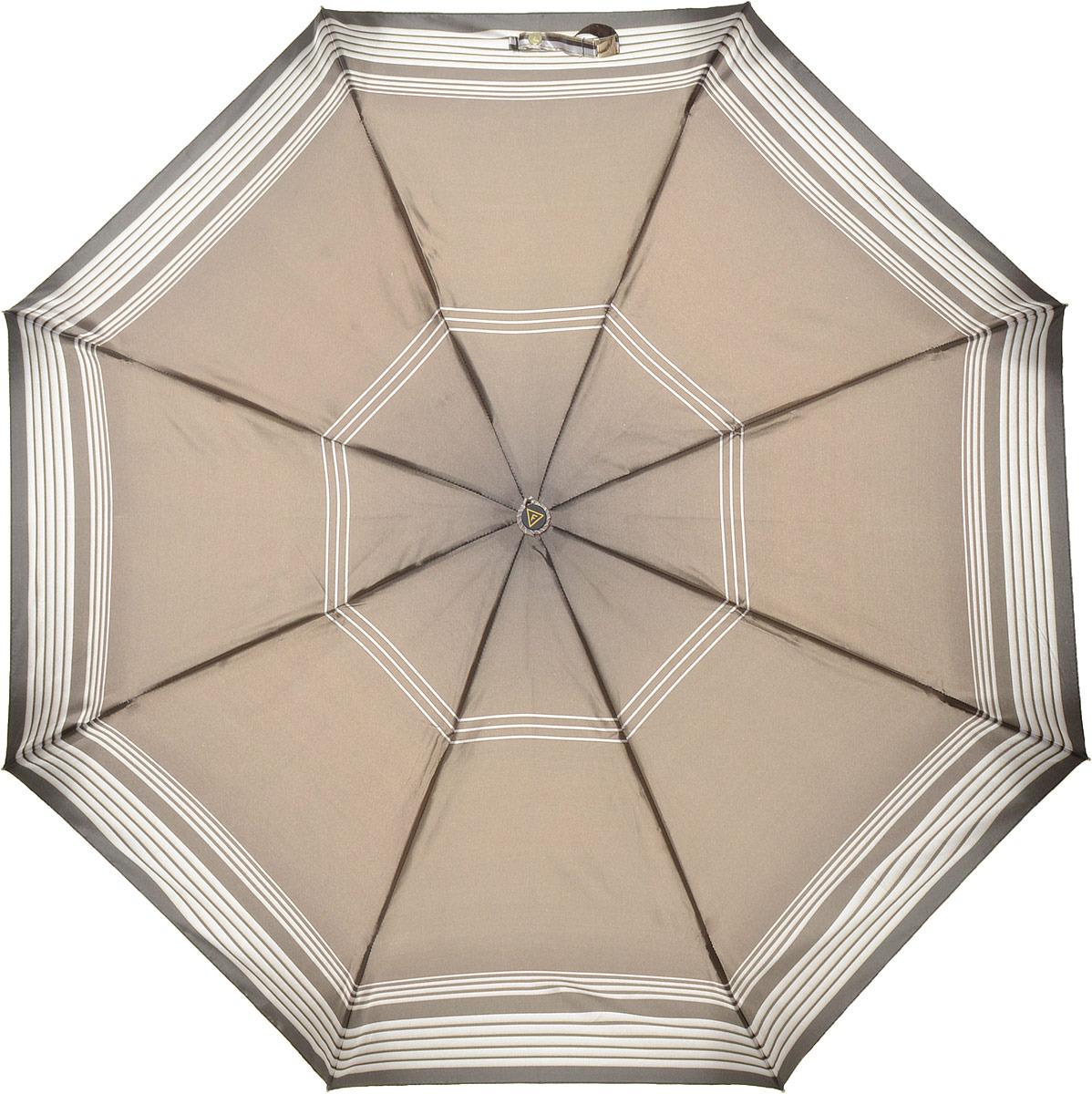 купить Зонт женский Fabretti, автомат, 3 сложения, цвет: коричневый. S-18104-1 по цене 1031 рублей