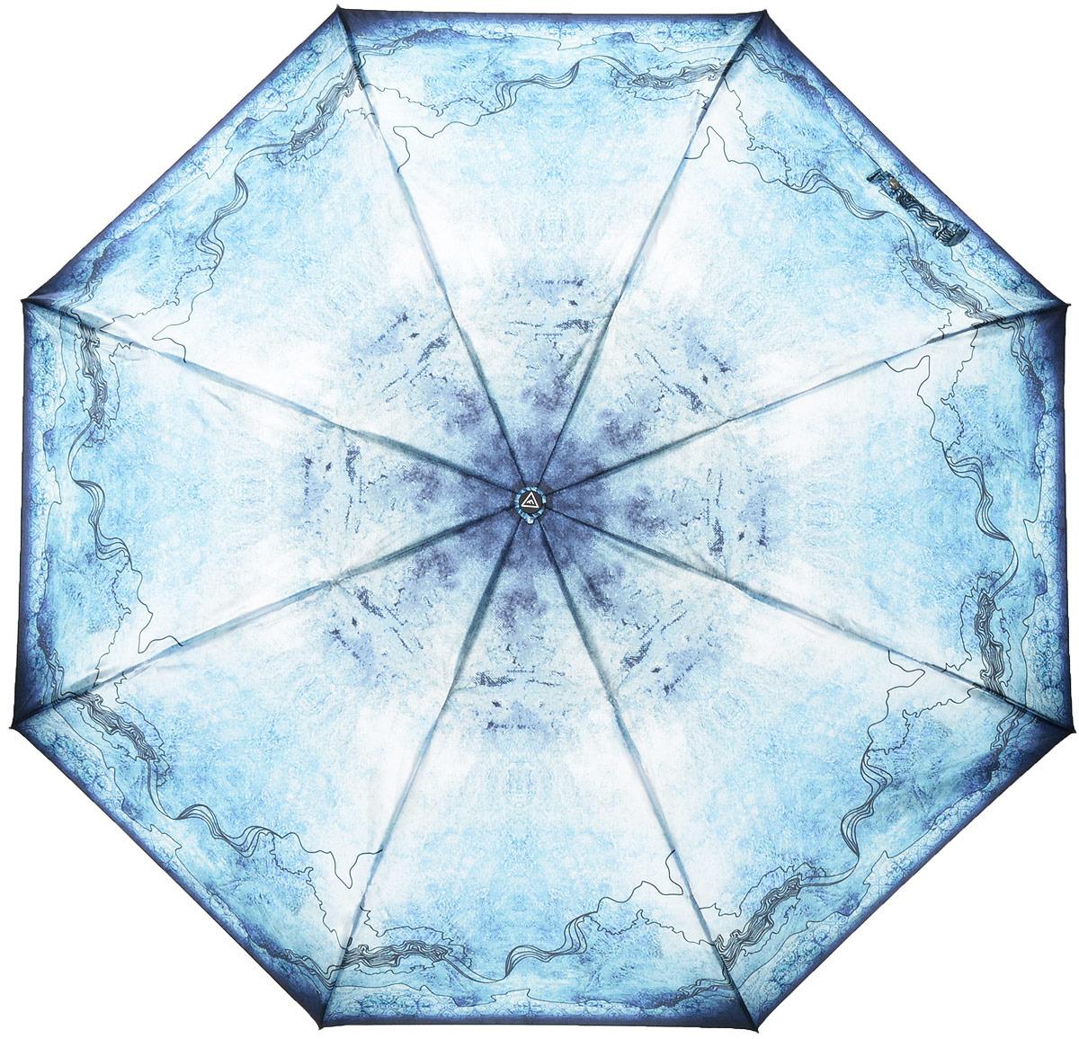 Зонт женский Fabretti, автомат, 3 сложения, цвет: голубой. S-18105-8 зонт airton 3917 8028 полный автомат женский