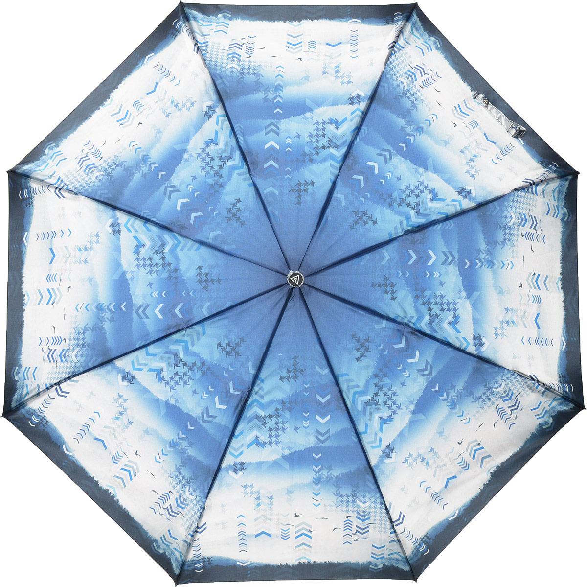 Зонт женский Fabretti, автомат, 3 сложения, цвет: синий. S-18105-7