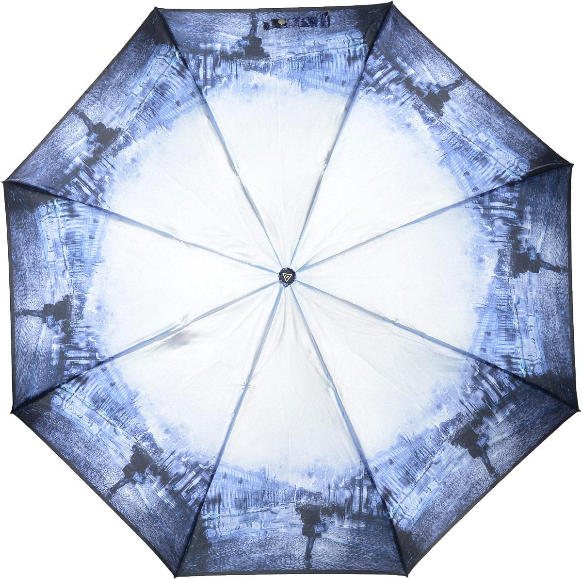 Зонт женский Fabretti, автомат, 3 сложения, цвет: фиолетовый. S-18102-4 зонт trust 30475 20 женский полный автомат