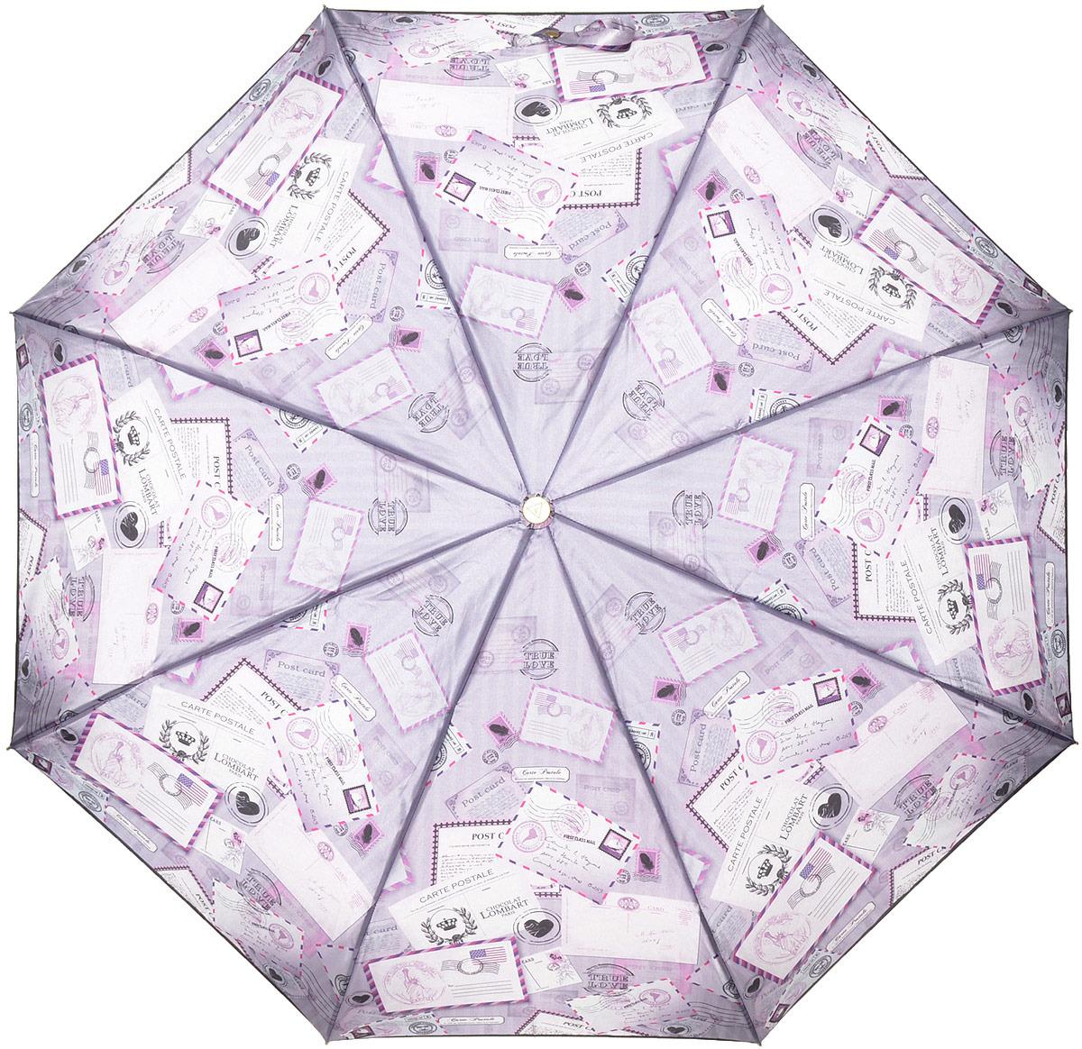 Зонт женский Fabretti, автомат, 3 сложения, цвет: фиолетовый. L-18116-
