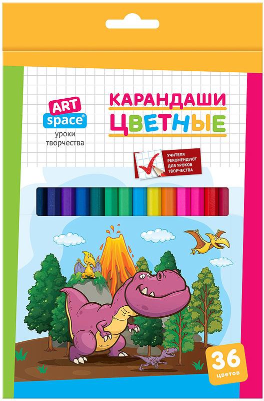 Набор цветных карандашей ArtSpace Динозаврики, 261417, 36 цветов