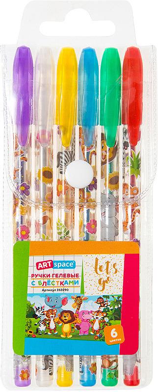 Набор гелевых ручек ArtSpace Зверята, 263290, 6 цветов набор гелевых ручек xiaomi alpha letter gel pen 4шт red