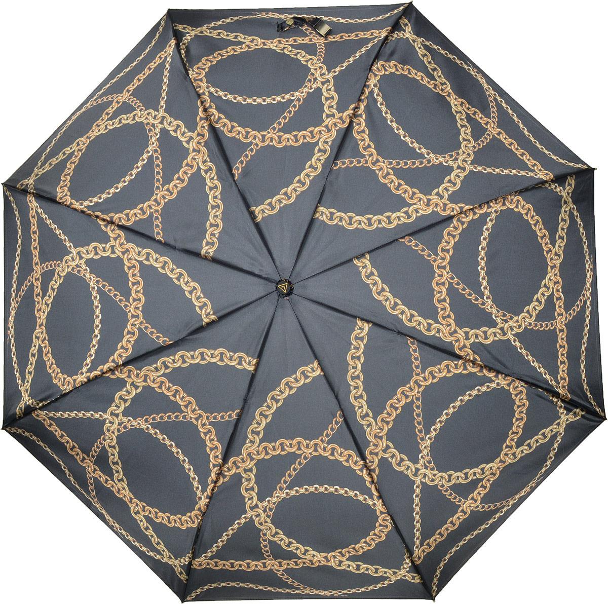Зонт женский Fabretti, автомат, 3 сложения, цвет: черный. S-18103-8