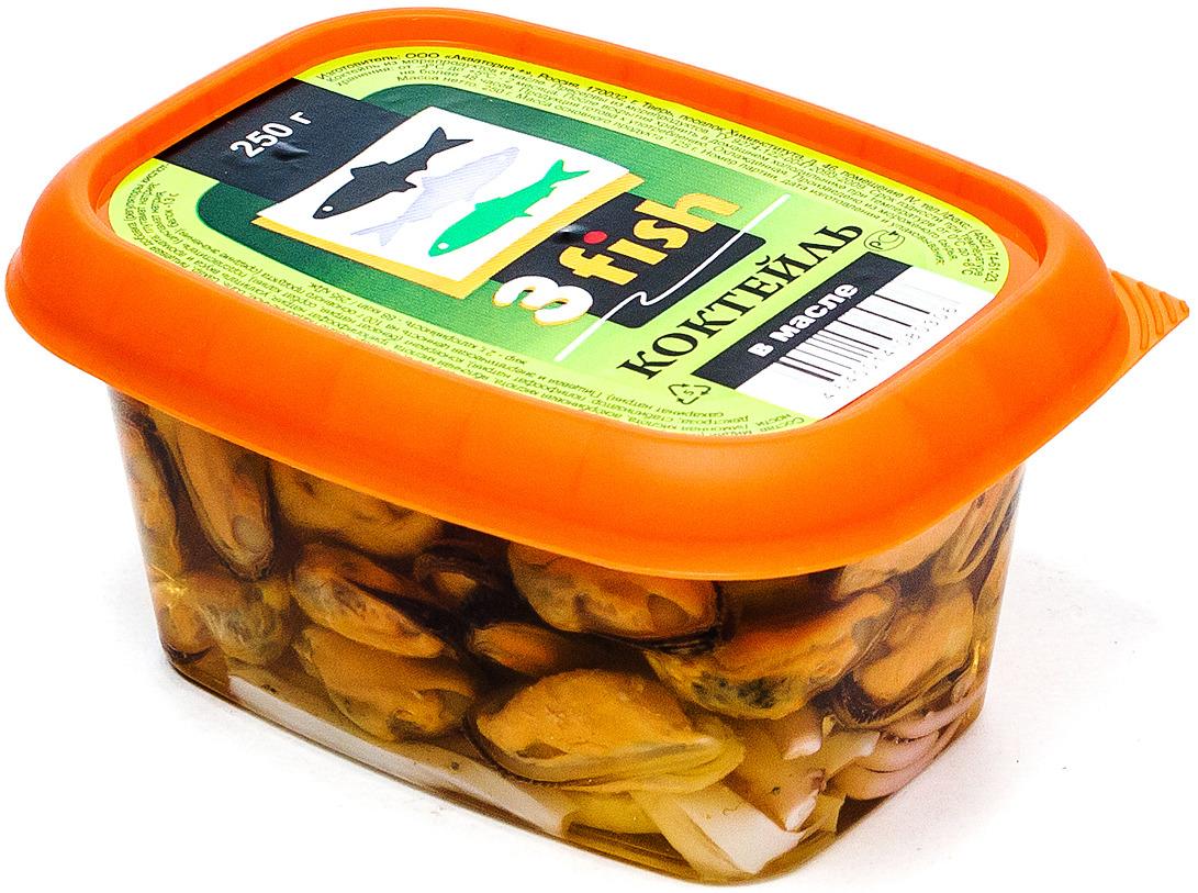 Коктейль из морепродуктов 3fish, в масле, 250 г