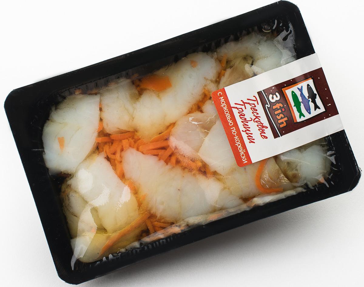 Соленая рыба 3fish Тресковые традиции, с морковью по-корейски, 150 г