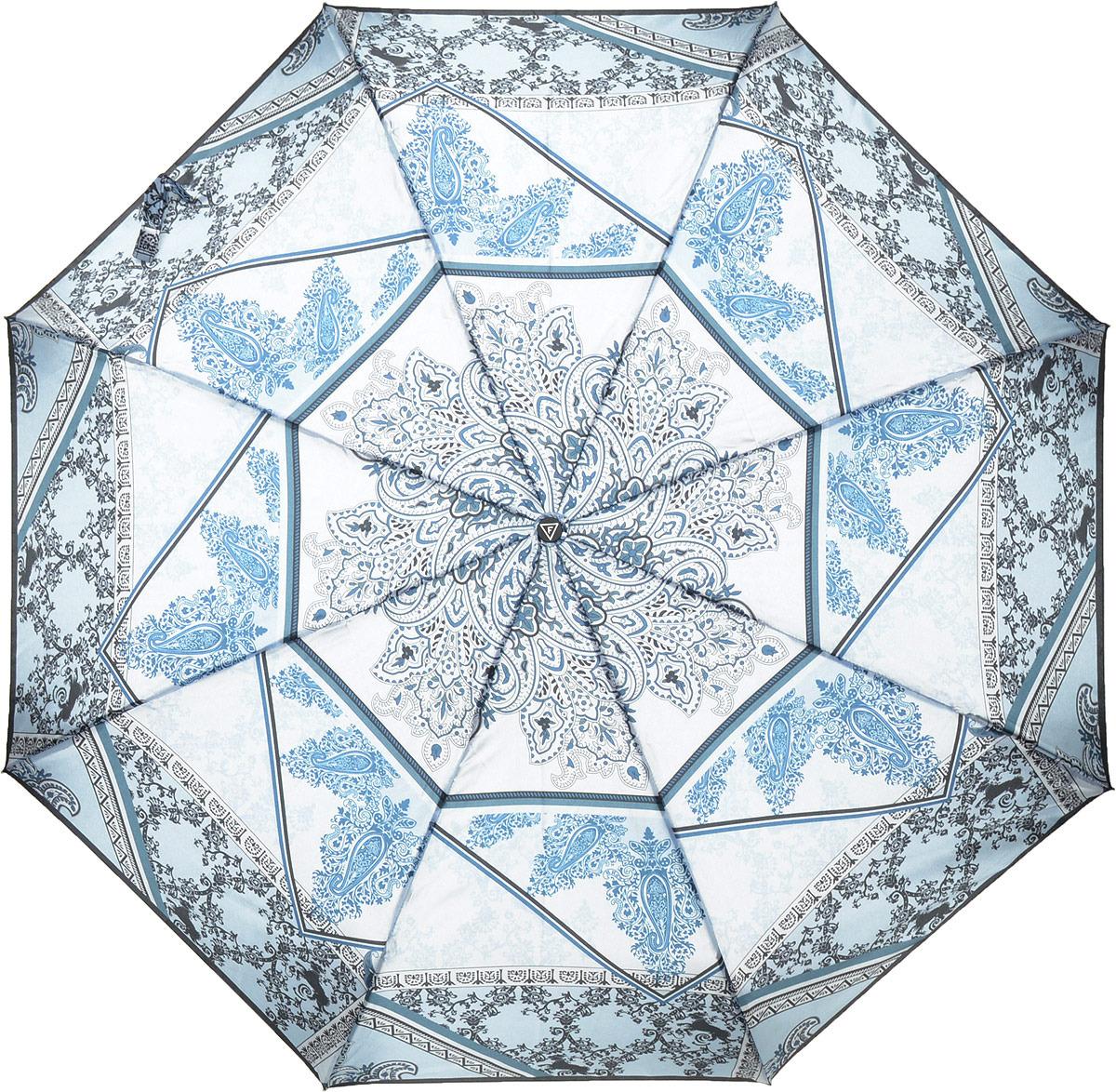 купить Зонт женский Fabretti, автомат, 3 сложения, цвет: голубой. S-18105-11 по цене 1031 рублей