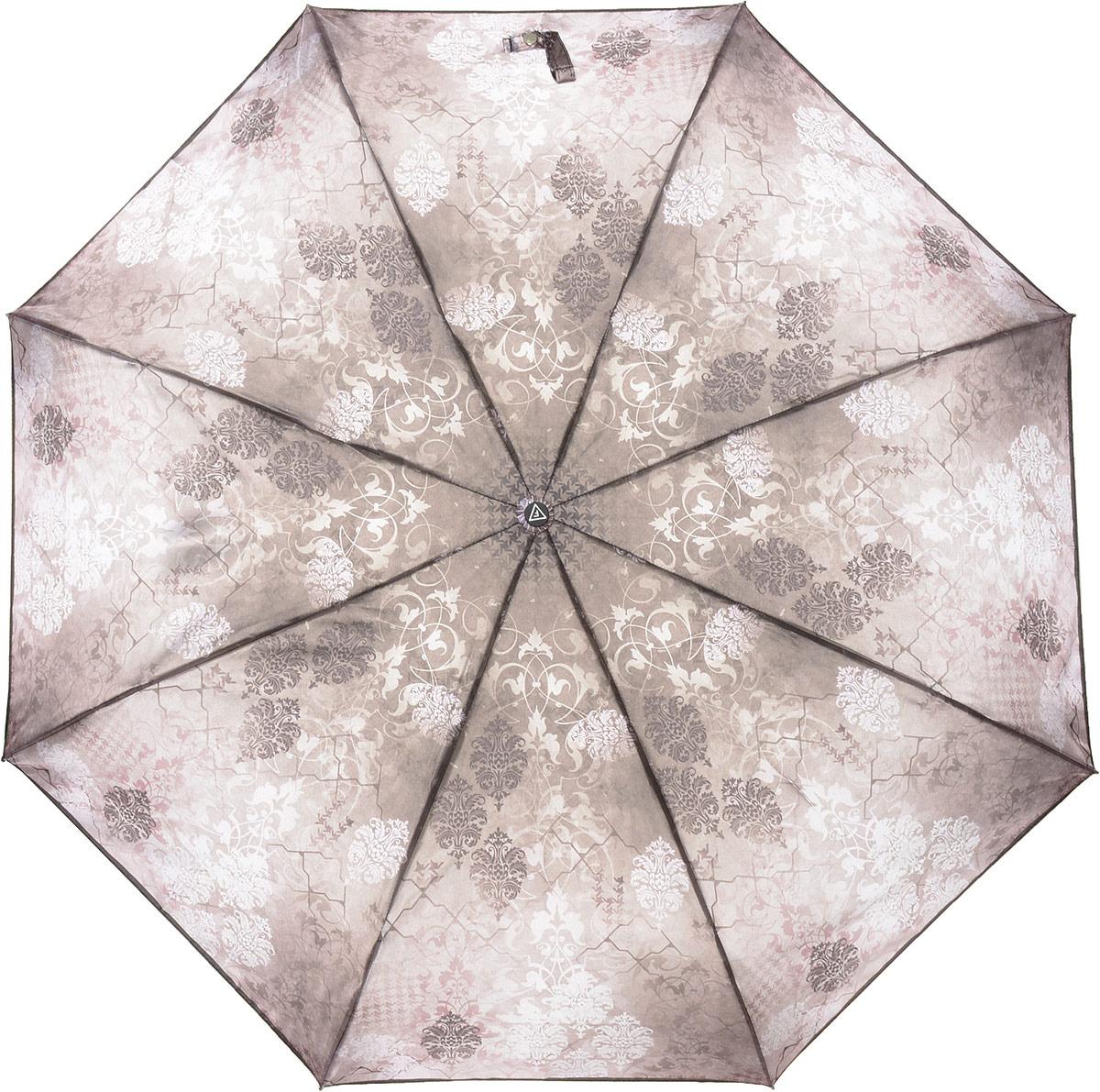 Зонт женский Fabretti, автомат, 3 сложения, цвет: бежевый. S-18106-9 цена и фото