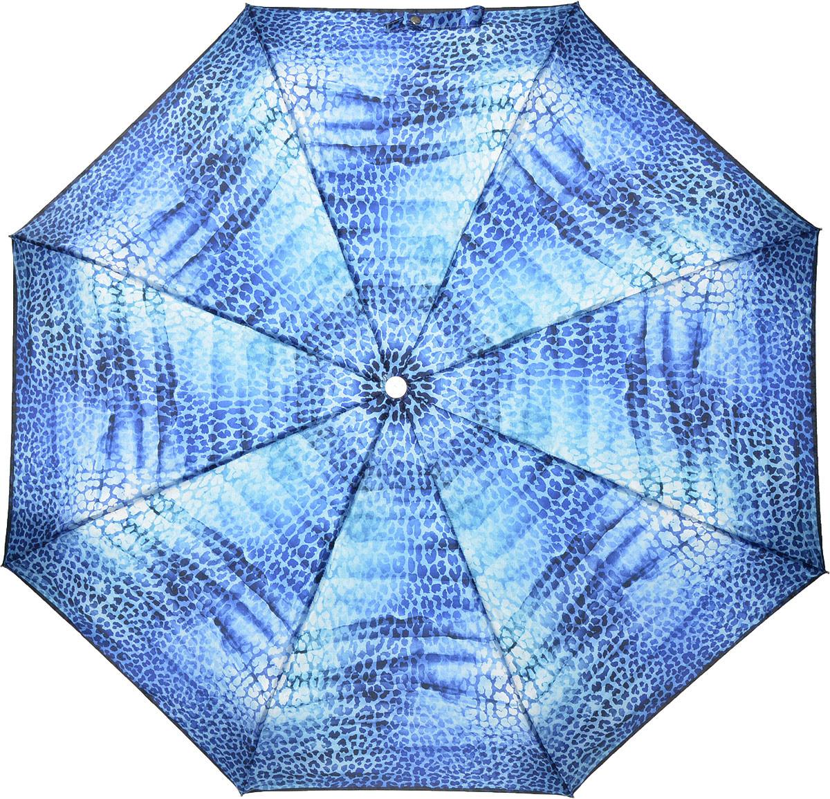 Зонт женский Fabretti, автомат, 3 сложения, цвет: синий. L-18114-5 цена и фото
