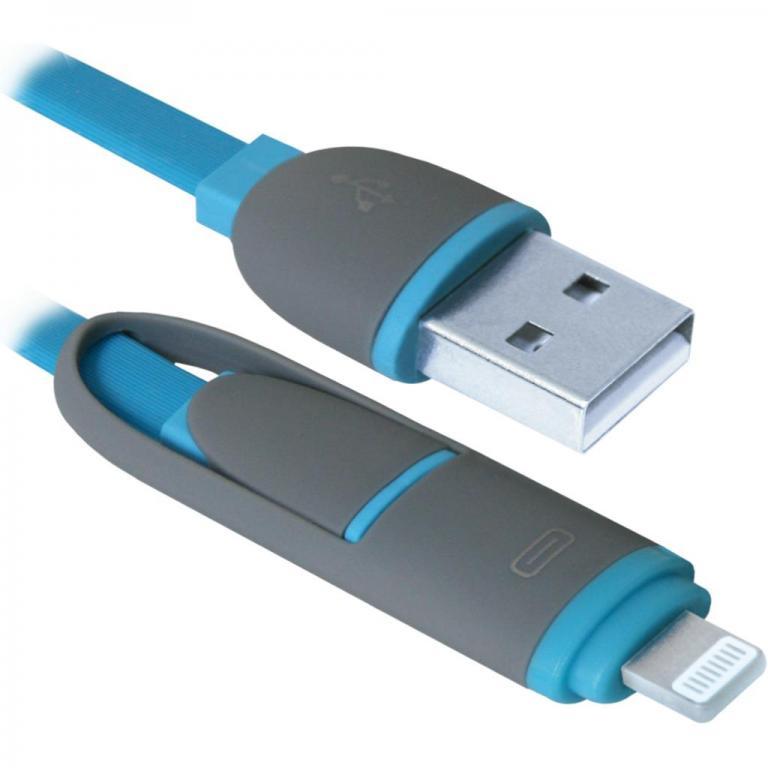 USB кабель Defender USB10-03BP синий, MicroUSB + Lightning,1м кабель microusb lightning 1м defender usb10 03bp плоский синий 87487