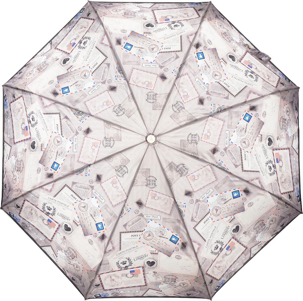 Зонт женский Fabretti, суперавтомат, 3 сложения, цвет: фиолетовый. L-18115-