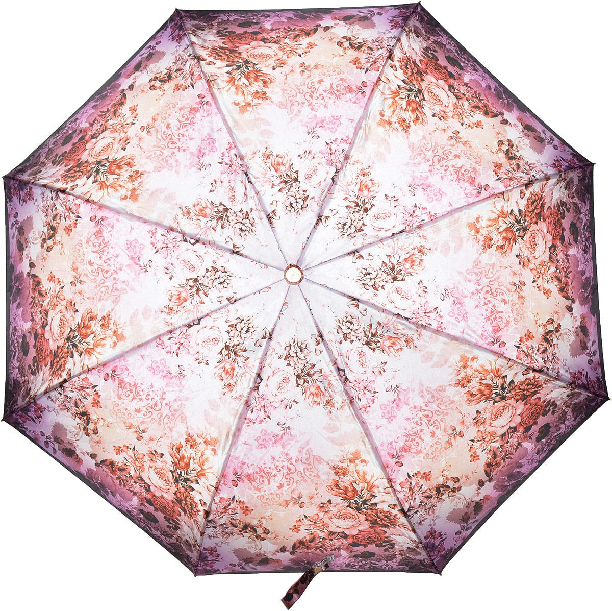 Зонт женский Fabretti, автомат, 3 сложения, цвет: розовый. L-18116-2