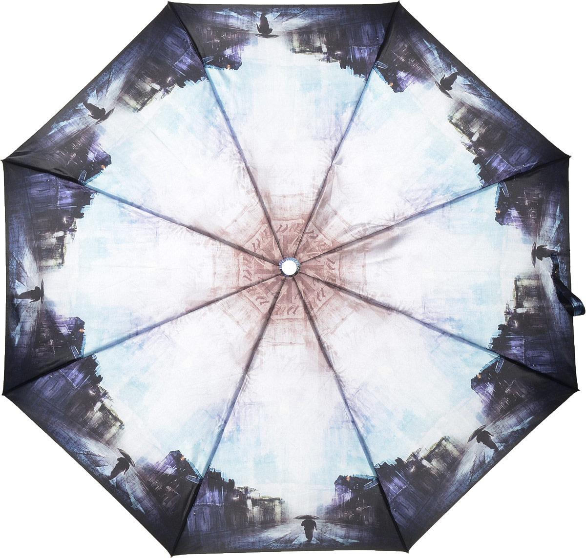 Зонт женский Fabretti, суперавтомат, 3 сложения, цвет: разноцветный. L-18117-10 недорго, оригинальная цена