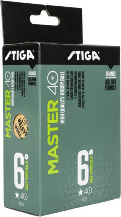 Шарики для пинг-понга Stiga Master ABS 1-звезда, со швом, оранжевый, 6 шт
