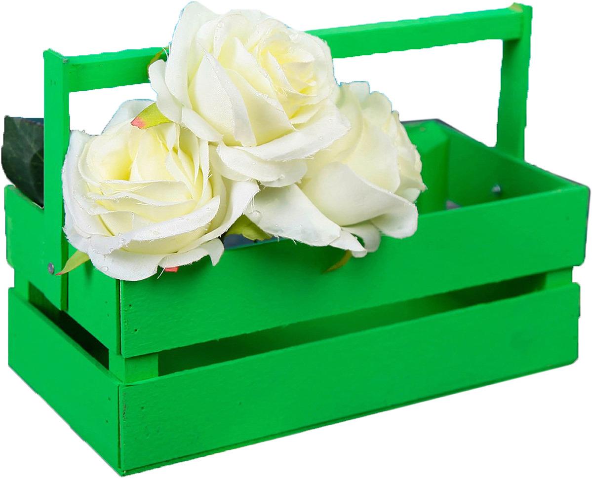 Кашпо флористическое ТД ДМ, со складной ручкой, 2219793, зеленый, 25,5 х 16 х 9,5 см кашпо тд дм ящик любовь флористическое 20 х 16 х 9 5 см