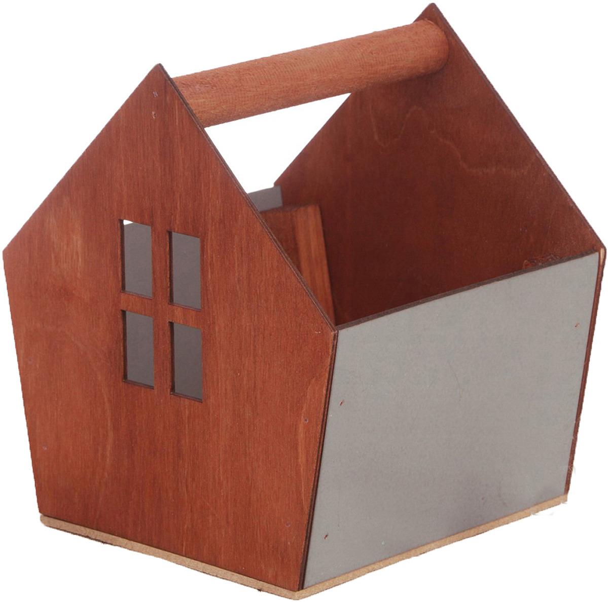 Кашпо садовое Дарите Счастье Ящик-скворечник, 3334619, серый, коричневый, 15 х 16,5 х 18,5 см