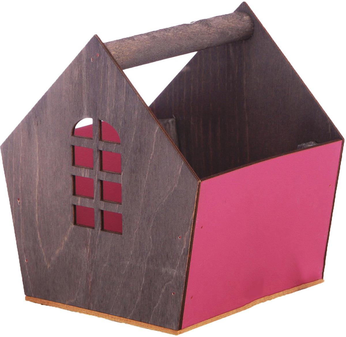 Кашпо садовое Дарите Счастье Ящик-скворечник, 3334620, серый, бордовый, 15 х 16,5 х 18,5 см
