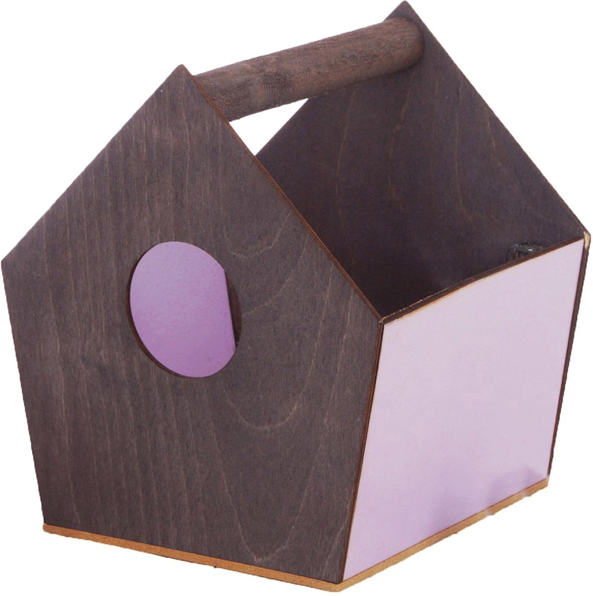 Кашпо садовое Дарите Счастье Ящик-скворечник, 3334621, серый, сиреневый, 15 х 16,5 х 18,5 см