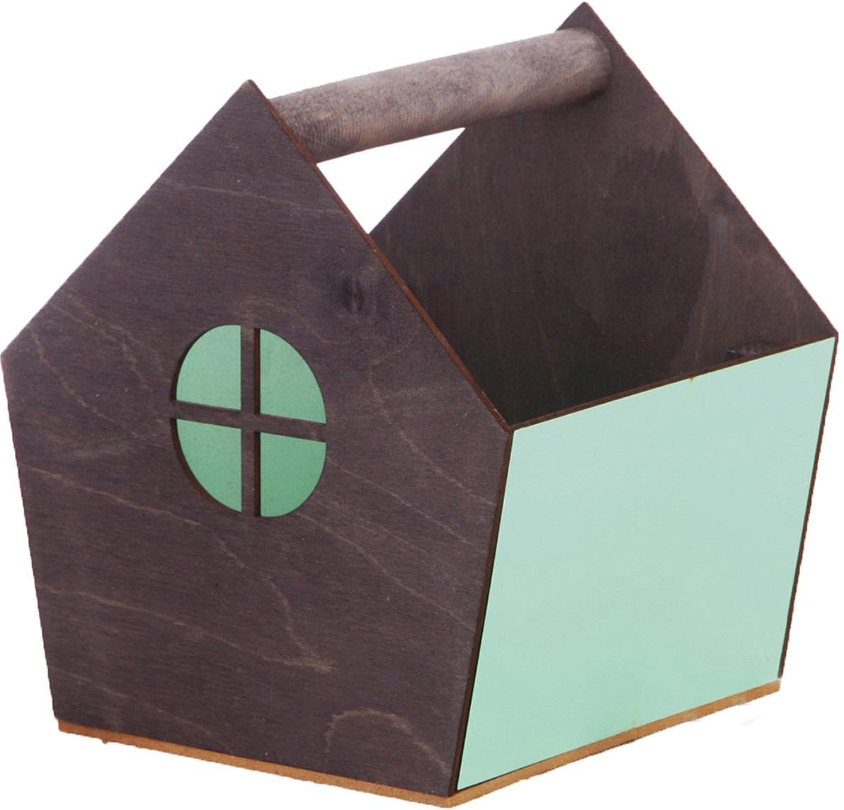 Кашпо садовое Дарите Счастье Ящик-скворечник, 3334623, серый, зеленый, 15 х 16,5 х 18,5 см