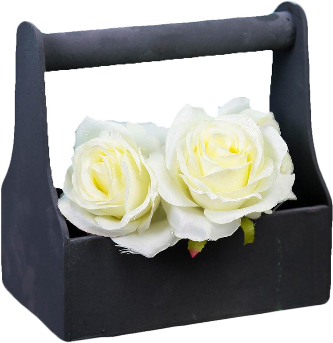 Кашпо флористическое ТД ДМ, с ручкой, 3392611, черный, 12,5 х 20 х 20 см кашпо тд дм ящик любовь флористическое 20 х 16 х 9 5 см