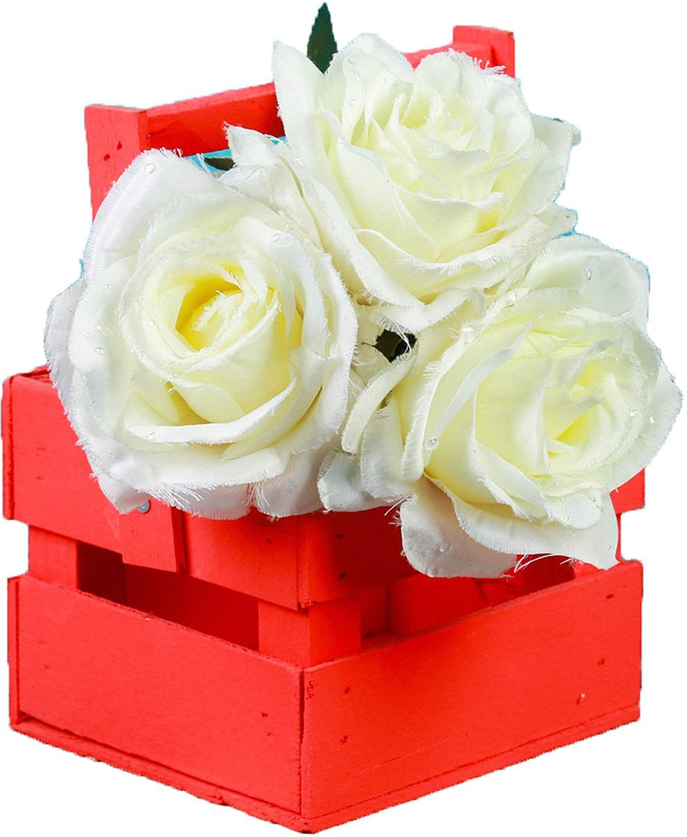 Кашпо флористическое ТД ДМ, со складной ручкой, 3392614, красный, 11 х 12 х 9 см кашпо тд дм ящик любовь флористическое 20 х 16 х 9 5 см