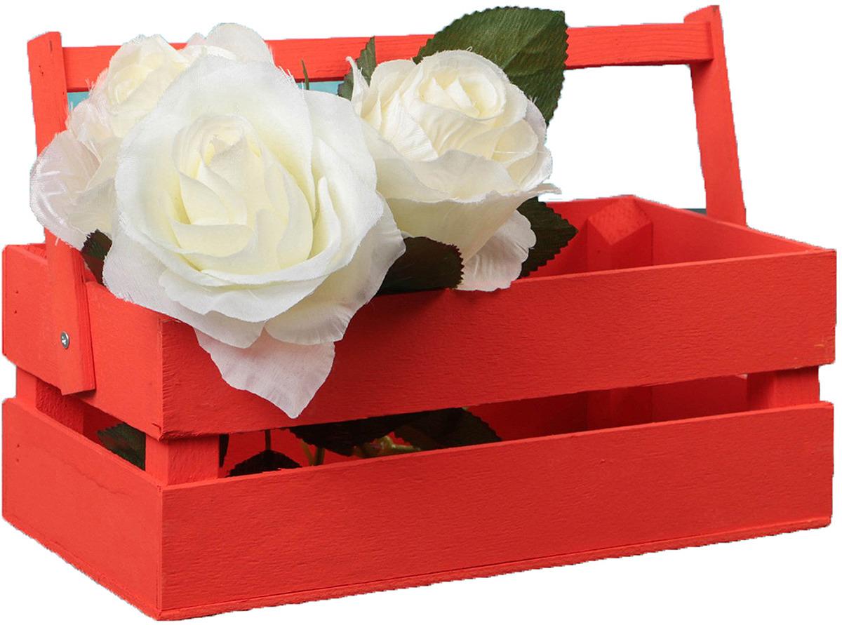 Кашпо флористическое ТД ДМ, со складной ручкой, 3392616, красный, 16 х 26 х 9,5 см кашпо тд дм ящик любовь флористическое 20 х 16 х 9 5 см