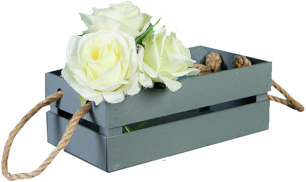 Кашпо флористическое ТД ДМ, с ручкой-шнуром, 3392617, черный, 24,5 х 13,5 х 9 см кашпо тд дм ящик любовь флористическое 20 х 16 х 9 5 см
