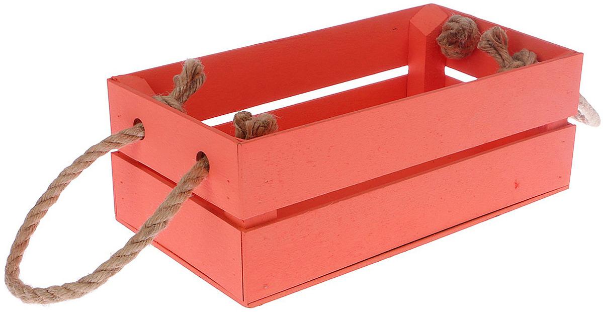 Кашпо флористическое ТД ДМ, с ручкой-шнуром, 3392618, красный, 24,5 х 13,5 х 9 см кашпо тд дм ящик любовь флористическое 20 х 16 х 9 5 см