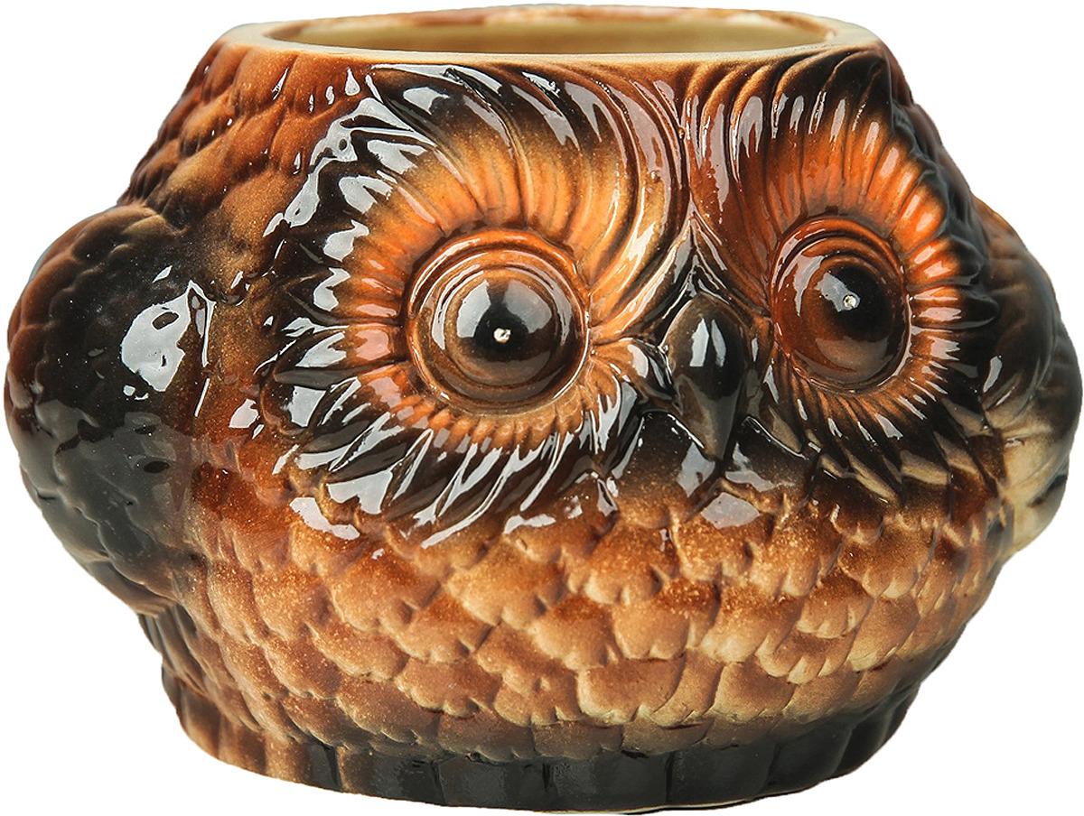 Кашпо Керамика ручной работы Совенок, 34136263413626Кашпо подходит как для посадки комнатных растений, также можно использовать в качестве вазы для свежесрезанных цветов.