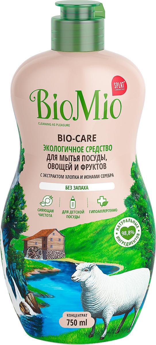 Экосредство для мытья посуды, овощей и фруктов BioMio Bio-Care, без запаха, концентрат, 750 мл био мио bio care средство для мытья посуды овощей и фруктов с эфирным маслом вербены 450мл