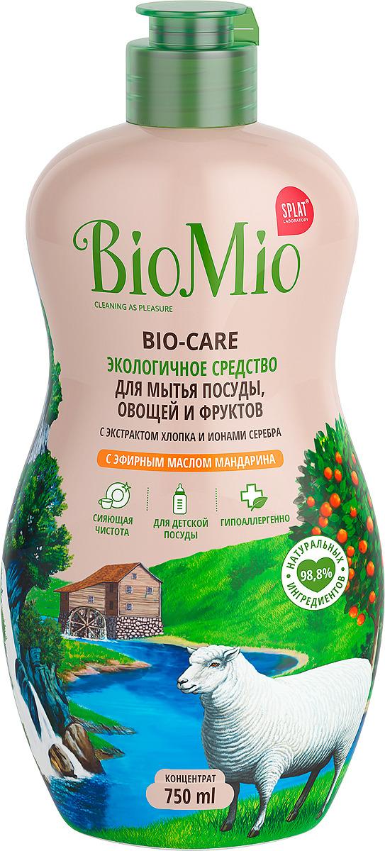 Экосредство для мытья посуды, овощей и фруктов BioMio Bio-Care, концентрат, 750 мл био мио bio care средство для мытья посуды овощей и фруктов с эфирным маслом вербены 450мл