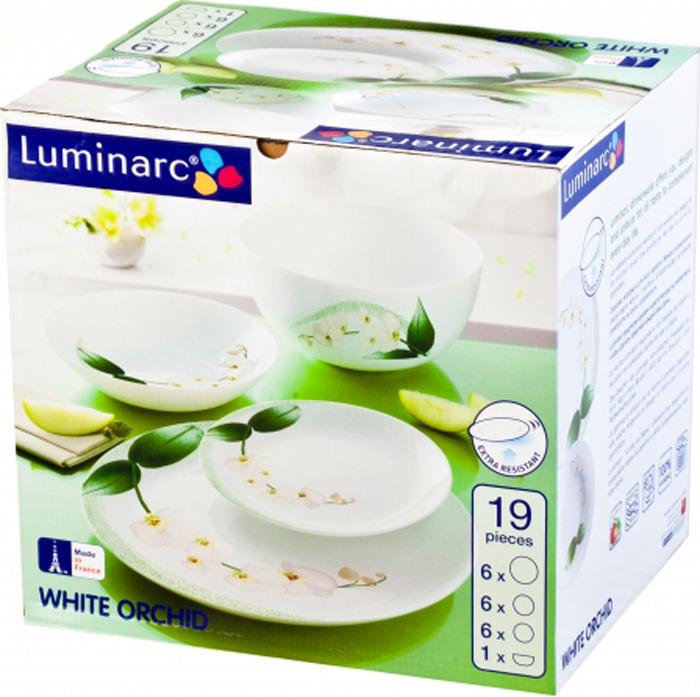Набор столовой посуды Luminarc Уайт Орхзид, J7497, 19 предметов цена