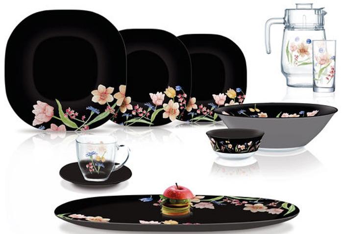 Набор столовой посуды Luminarc Карин Менуэт Блэк, N8126, 46 предметов набор столовой посуды luminarc нью карин n2955 белый черный