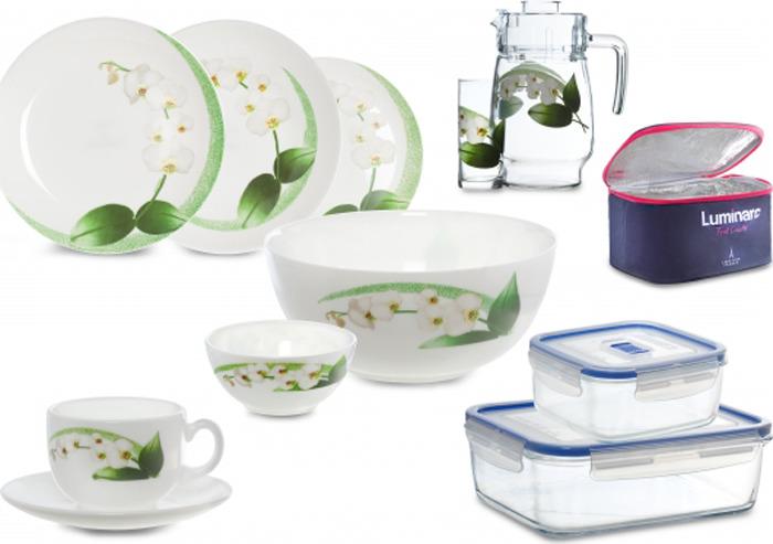 Набор столовой посуды Luminarc Уайт Орхид, P3308, 47 предметов квас никола традиционный 1 л х 6 шт