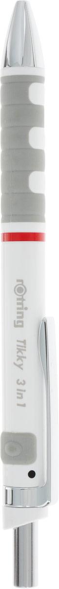Ручка шариковая Rotring Tikky 3 в 1, S0891180, 0,5 мм, цвет корпуса белый, цвет чернил синий