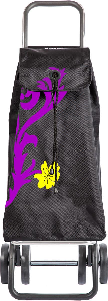 Сумка-тележка Rolser Dos+2, IMX008, черный, фиолетовый, 43 л чемодан тележка 72 см черный 2 колеса