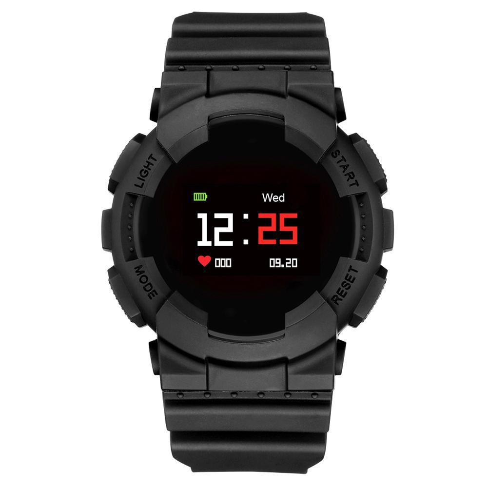 MX IP68 Водонепроницаемые часы с монитором кислорода и крови непрерывным сердечным ритмом (черный)