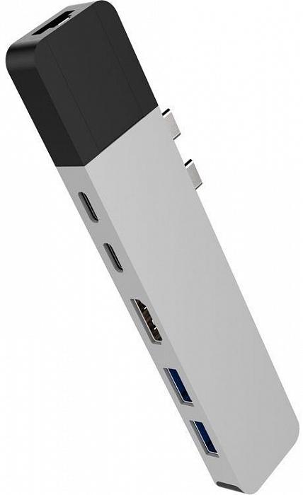 USB-концентратор HyperDrive NET 6-in-2 для MacBook Pro 13/15, серебристый usb концентратор visa usb 2 0 для подключения к сети mega сетевая карта usb адаптер для ноутбука macbook ethernet кабель черный vas j37 bn