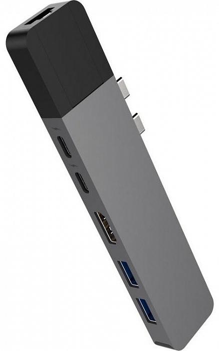 USB-концентратор HyperDrive NET 6-in-2 для MacBook Pro 13/15, серый usb концентратор visa usb 2 0 для подключения к сети mega сетевая карта usb адаптер для ноутбука macbook ethernet кабель черный vas j37 bn