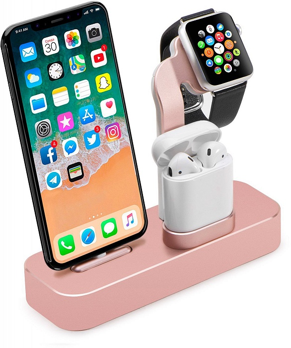 цена на Подставка COTEetCI Base19 для Apple Watch/iPhone/AirPods, розовый