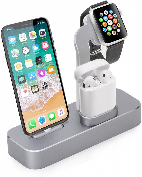 цена на Подставка COTEetCI Base19 для Apple Watch/iPhone/AirPods, серый