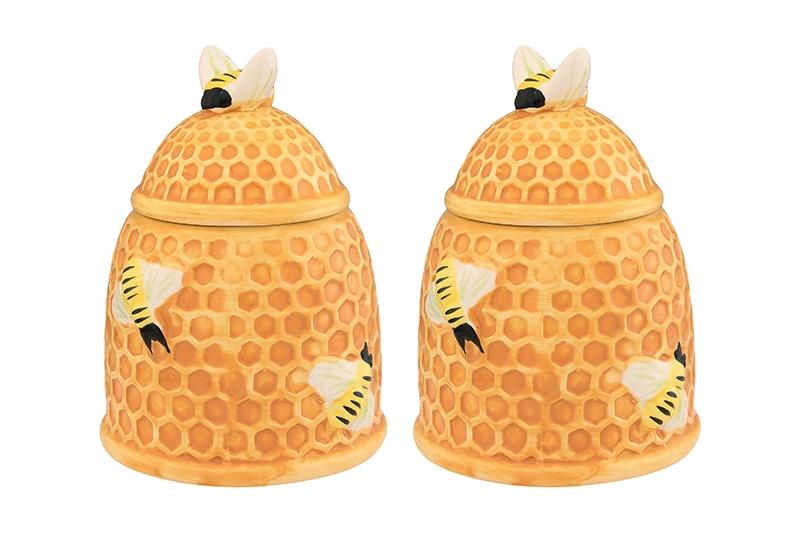 Горшочек для меда 10,5х10,5х14 см 450 мл Elan Gallery Пчелки на сотах (2 шт.)