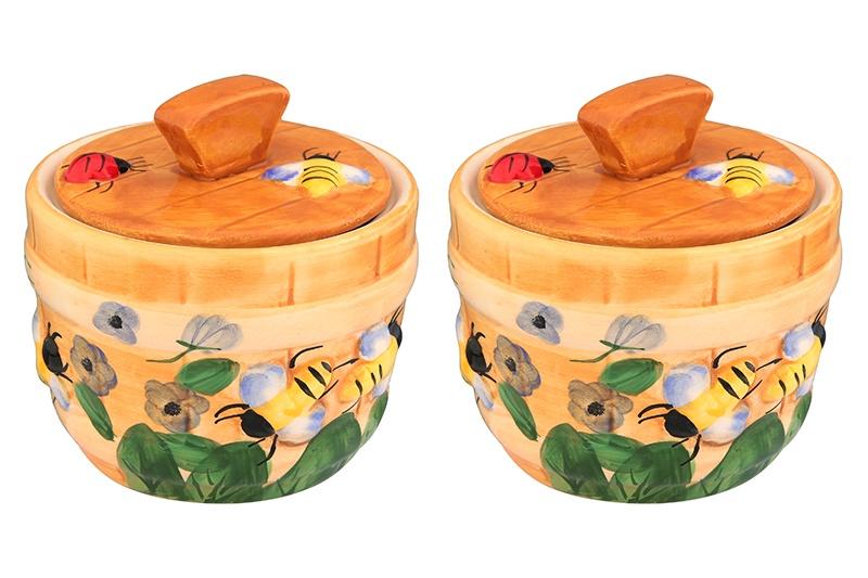 Банка для меда Elan Gallery Пчелки на лугу, желтый, коричневый, зеленый горшочек для меда elan gallery пчелки на сотах 300 мл