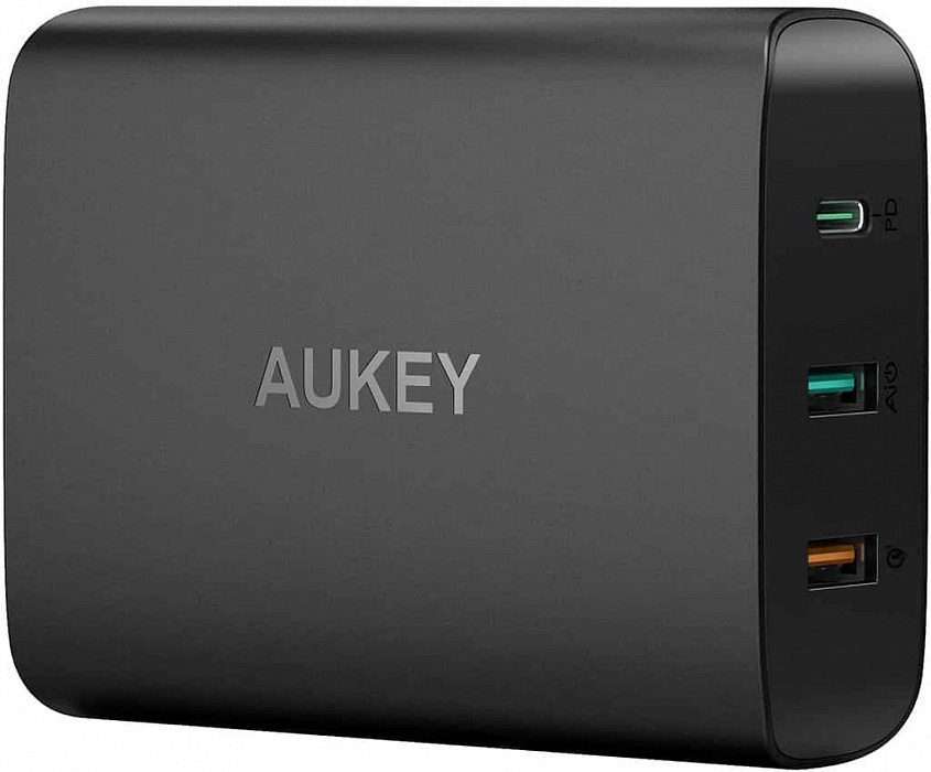 Фото - Зарядное устройство AUKEY Wall Charger PD/QC 3.0 USB-C PA-Y13, черный usb c pd3 0 charger power delivery qc 4 0 type c 4 port fast charger for new macbook samsung acer huawei nintendo lenovo