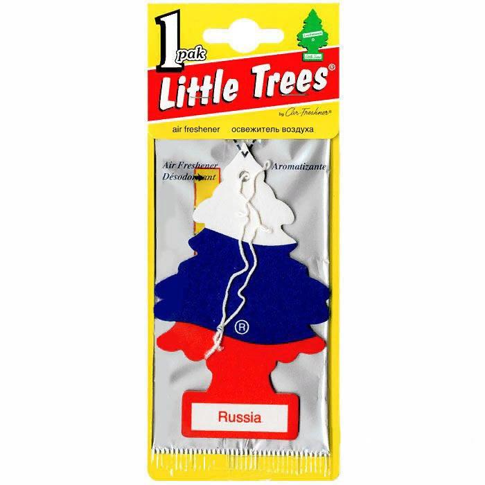 Автомобильный ароматизатор Car-Freshner Little Trees, ваниль, российский флаг, США автомобильный ароматизатор car freshner little trees зеленое яблоко сша