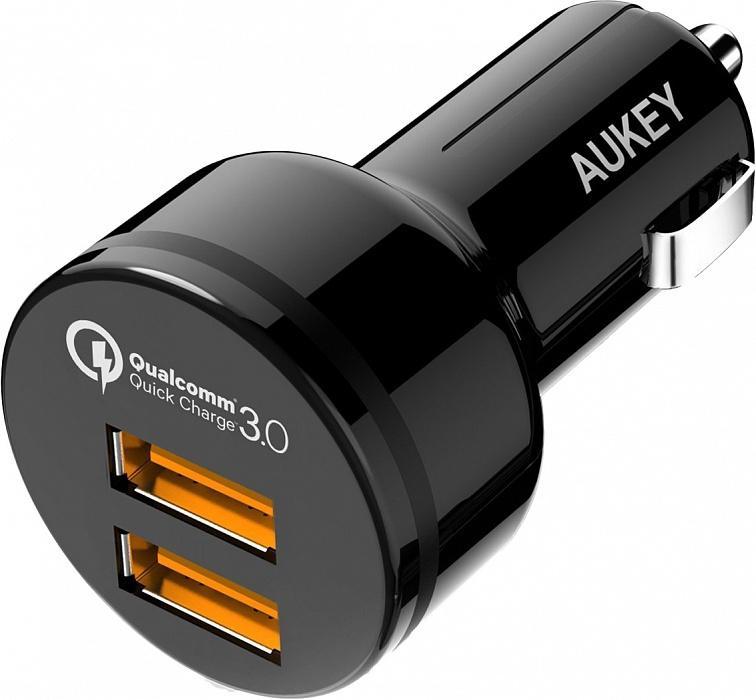 Автомобильное зарядное устройство AUKEY CC-T8, черный автомобильное зарядное устройство aukey cc t7 черный