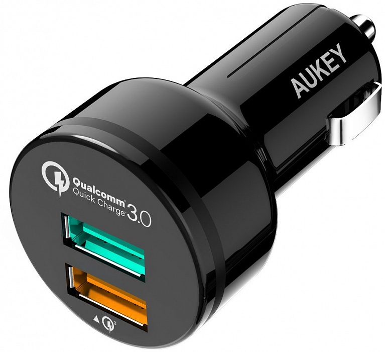 Автомобильное зарядное устройство AUKEY CC-T7, черный аккумулятор aukey aipower pb n41 5000mah llts104372