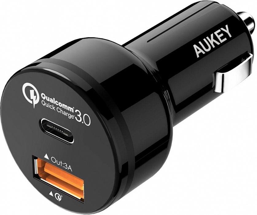Автомобильное зарядное устройство AUKEY CC-Y1, черный автомобильное зарядное устройство mango device quick charge 2 0 4 x usb серебристый md cc 102s