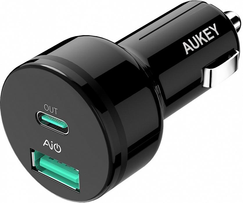 Автомобильное зарядное устройство AUKEY СС-Y7 Power Delivery 2.0 USB-C, черный автомобильное зарядное устройство aukey cc t7 черный