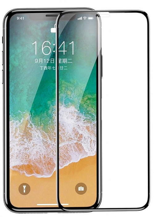Защитное стекло Baseus 0.23mm Drop-proof Curved Full Screen Tempered Glass Film для iPhone X, черный protective explosion proof tempered glass screen protector for blackberry z10 transparent